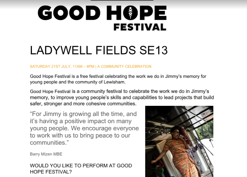 Good Hope Festival Blurb